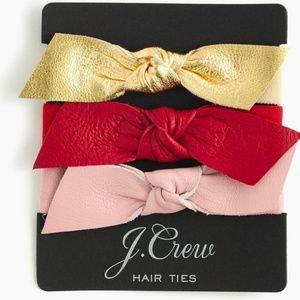 J. Crew Leather Bow Hair Ties